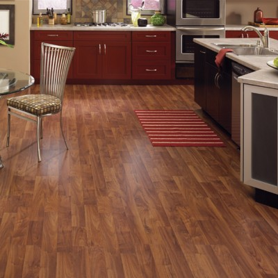 Open Concept Kitchen with Wood Texture Laminate Flooring