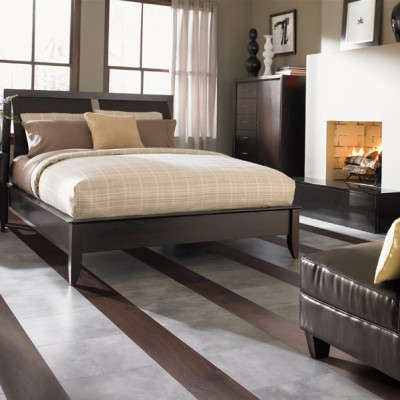 Striped Laminate Floors in Bedroom