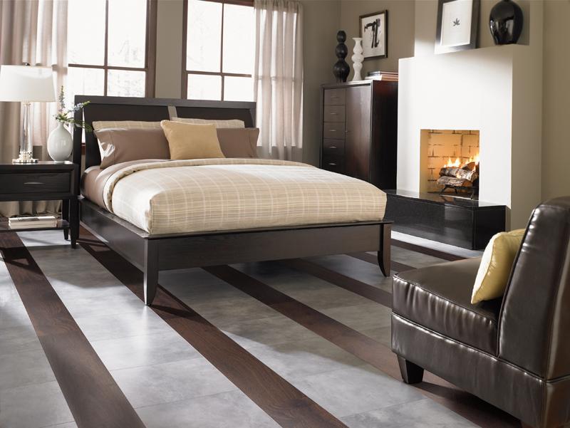 Striped Laminate Floors in Bedroom