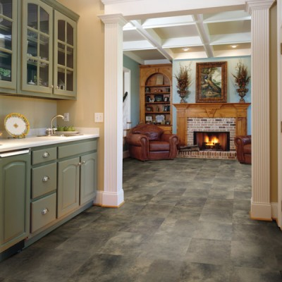 Kitchen Floors with Gray Textured Laminate