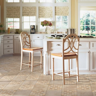 Patterned Ceramic Tiles in Cream Colored Country Kitchen