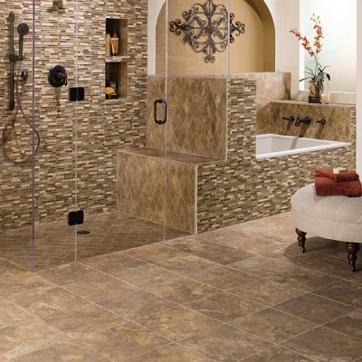 Colored Ceramic Tiles on Walls of Bathroom Appliances