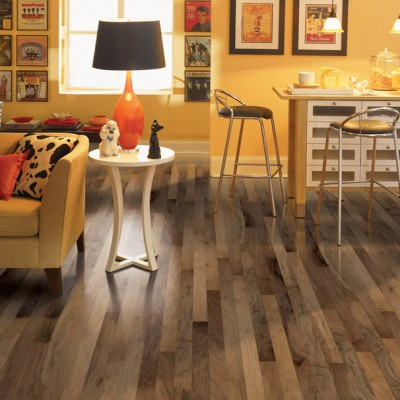 Patterned Hardwood Flood in Bright Retro Home