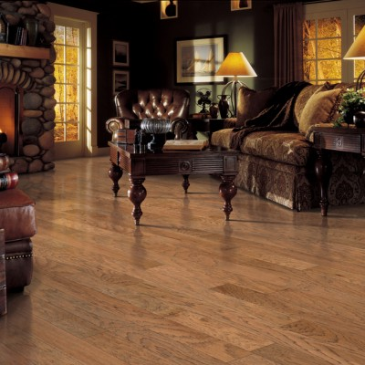Light Hardwood Floors with Dark Furniture in Country Home