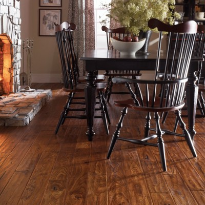 Natural Hardwood Floors with Stone Fireplace