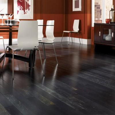 Black hardwood Floors in Contemporary Dinning Room