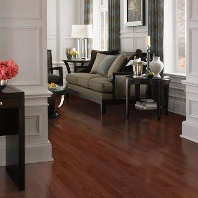 Dark Natural Hard Wood Floors in Living Room