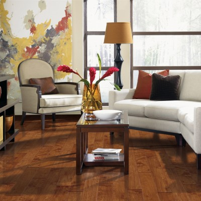 Cherry Colored Hardwood Floors with White Couch