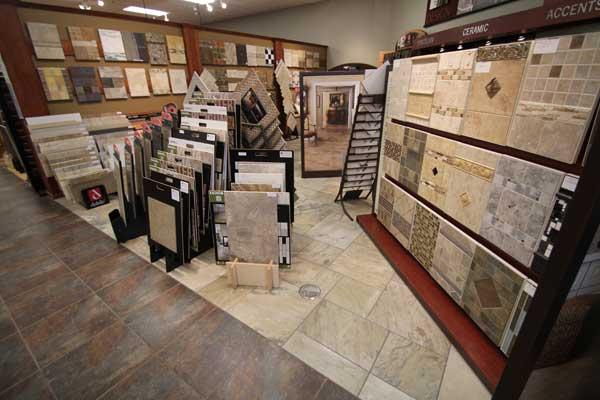 Ceramic Tile Selection in Showroom