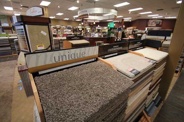 Custom Weave Carpet Selection in Showroom