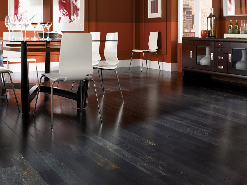 Black hardwood Floors in Contemporary Dinning Room
