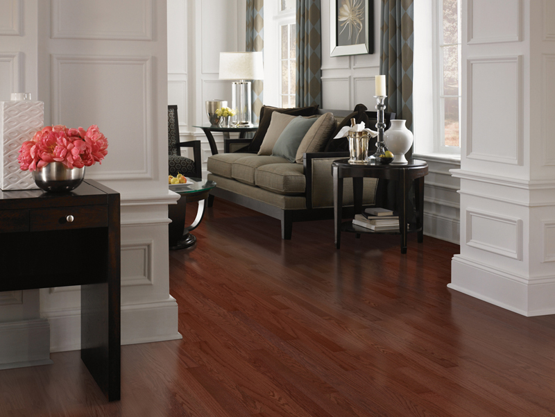 Dark Natural Hard Wood Floors in Living Room