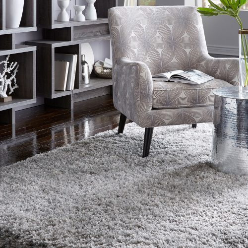 gray fuzzy area rug