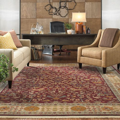 oriental area rug in office