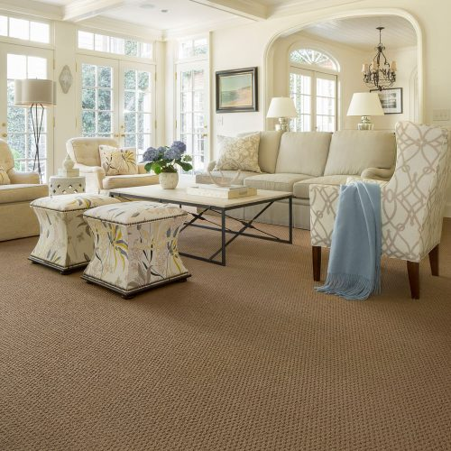 tan rug in cream living room