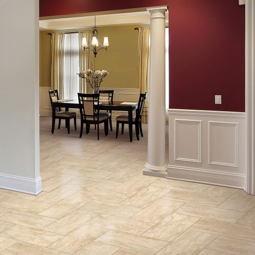 cream tile floors