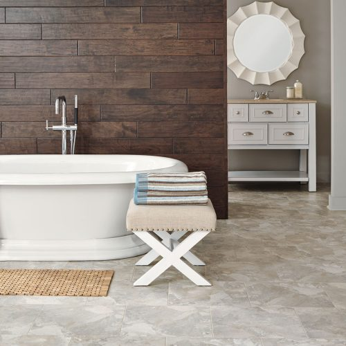 tile flooring with large bathtub
