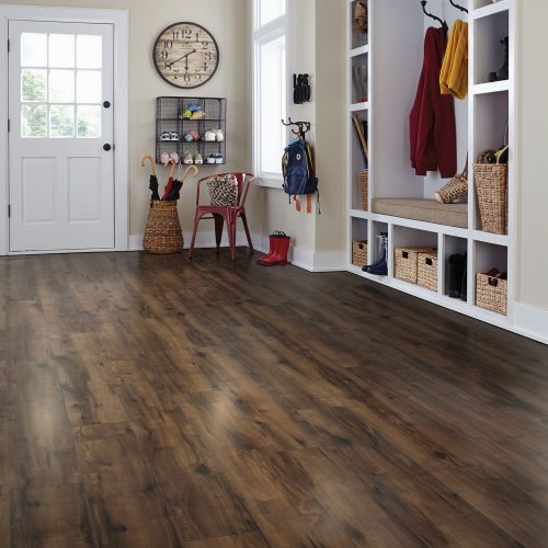 wood laminate flooring in mudroom
