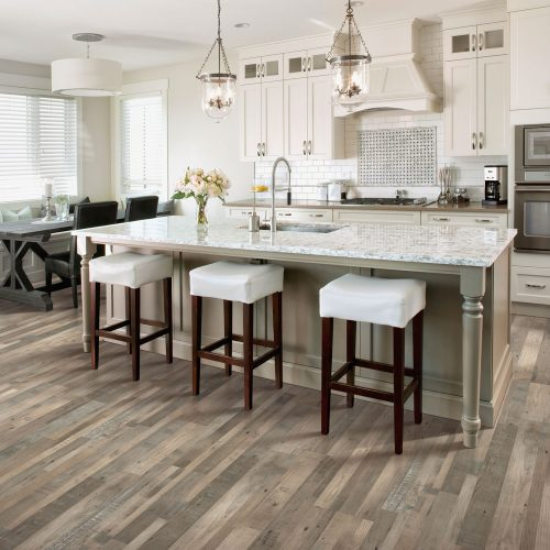 laminate wood floors in new kitchen