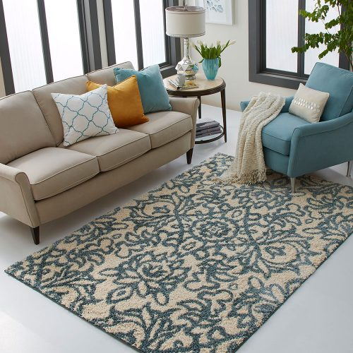 blue patterned area rug