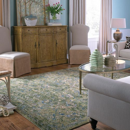 floral area rug with pink furniture