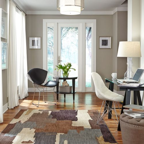 gray office with area rug