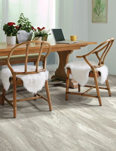 dinning room table on gray hardwood floor