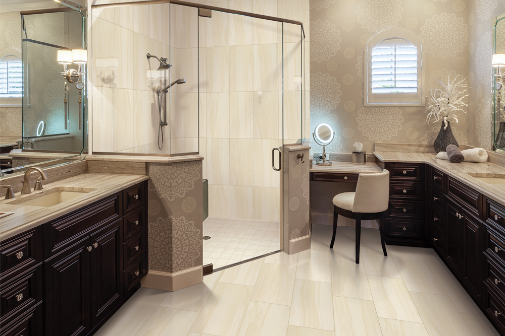 engineered laminate flooring in bathroom